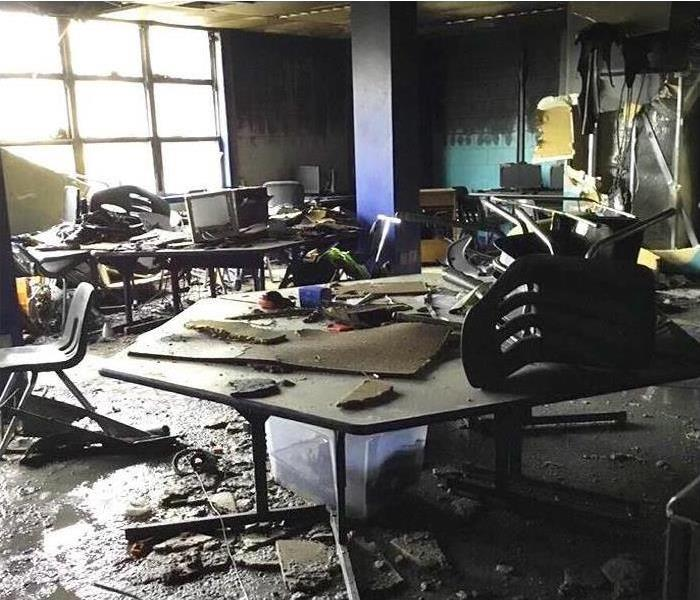 Classroom fire damages from soot and smoke