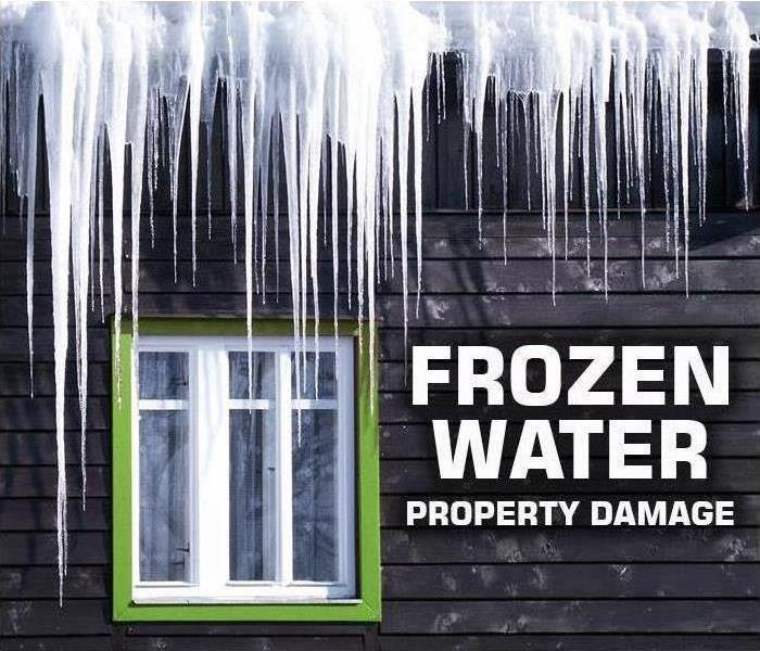 frozen water ice cycles on exterior of residential property