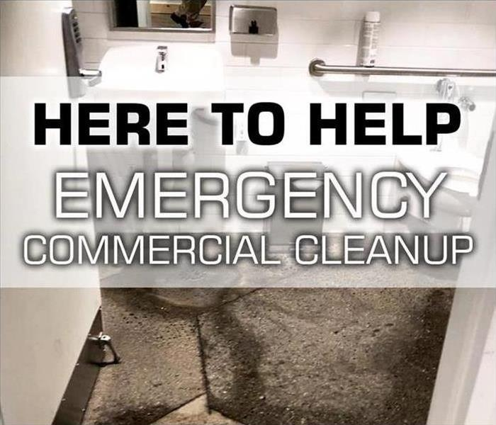 Here to Help Commercial Bathroom with sewage backup on floor